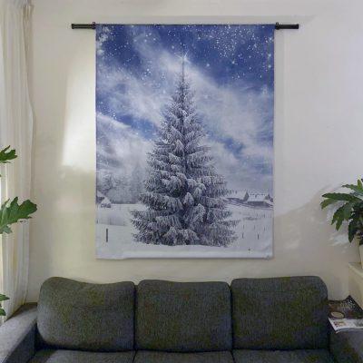 Signcraft-rotterdam-interieur-wandkleed-print-muur-textiel-doek-aankleding-kerstboom-kerst-sneeuw