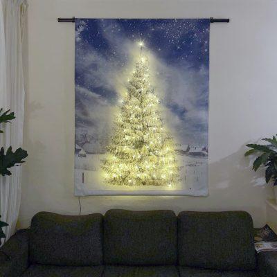 Signcraft-rotterdam-interieur-wandkleed-print-muur-textiel-doek-aankleding-kerstboom-kerst-sneeuw-lampjes